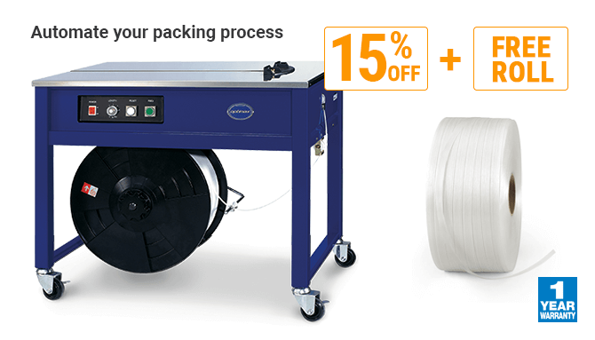SPECIAL OFFER 15% OFF on strapping machines + FREE roll of strapping included!