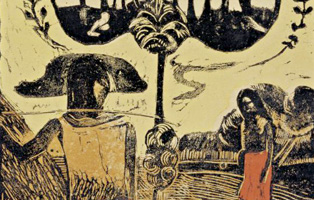 Picture caption and credit line:. Paul Gauguin. Noa Noa (Fragrant Scent), 1893–1894, Woodcut, image: 35.4 x 21.5 cm. Private collection